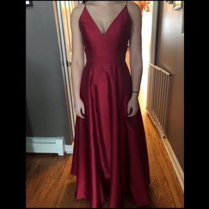 Red-wine Jovani satin prom dress
